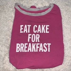 Kate Spade Pink Eat Cake for Breakfast Sleep Shirt